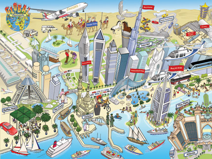 Detailed illustration for the tourist industry by freelance illustrator Richard Deverell